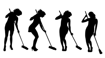 Vectro silhouette of woman who cleans on white background.