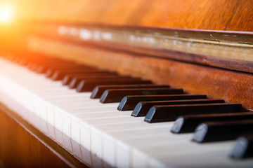 Piano key with Ray of sun, Shallow dof