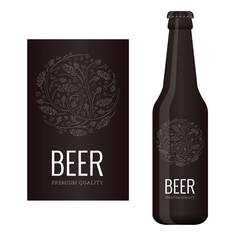 Vector beer label with chalk floral ornament of hops and malt
