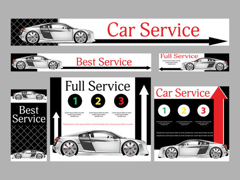 Car repair services. Realistic design. Set banners for the website. Templates standard size. Vector