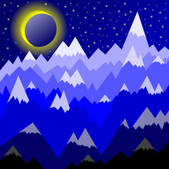 Decorative drawing of landscape with mountains with snowy peaks against the background of the starry sky and the young moon