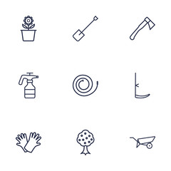 Set Of 9 Household Outline Icons Set.Collection Of Hatchet, Spade, Safer Of Hand Elements.