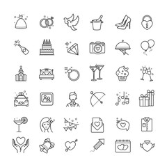 Outline set- wedding, love vector icons