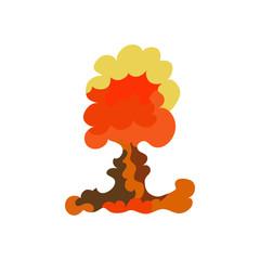 Cartoon explosion effect set. Explode flash, effect boom, bomb comic, mushroom fire. Vector.