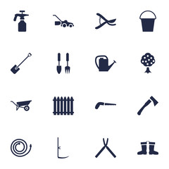 Set Of 16 Farm Icons Set.Collection Of Fence, Rubber Boots, Spray Bootle And Other Elements.