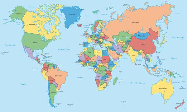 Weltkarte - einzelne Länder in Farbe (hoher Detailgrad)