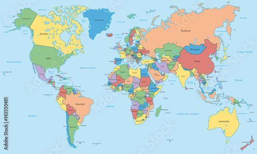Weltkarte einzelne l nder in farbe hoher detailgrad for Weltkarte mit fotos