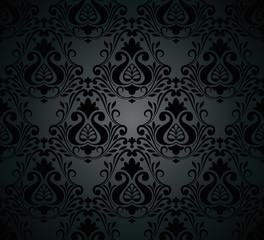Vector - Seamless damask ornate Wallpaper for design