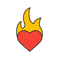 Burning heart color icon