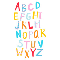 Hand drawn colorful alphabet with patterns.