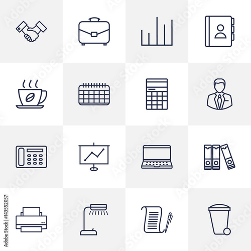 set of 16 bureau outline icons set collection of hot drink agreement recycle bin and other. Black Bedroom Furniture Sets. Home Design Ideas