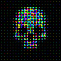 skull in halftone dots style Bright t-shirt graphics design