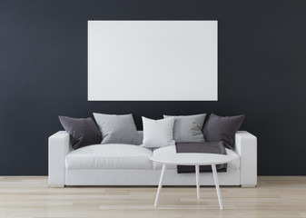 Blank poster on dark wall, interior composition. 3D rendering.