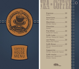 vector menu for coffee house on denim background with price list and a leather label with a picture of a cup of coffee