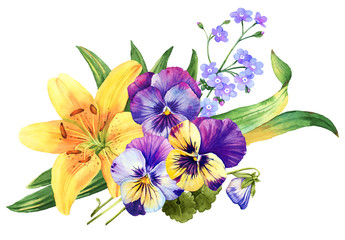 Yellow lily and pany flower watercolor bouquet