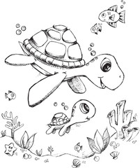 Doodle Sea Turtle Vector Illustration Art