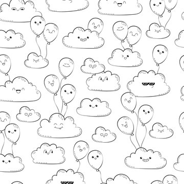 Vector seamless pattern with clouds and balloons. Happy spring clouds fly. Anti-stress coloring page for adults