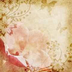 Papiers peints Papillons dans Grunge Old paper with floral pattern