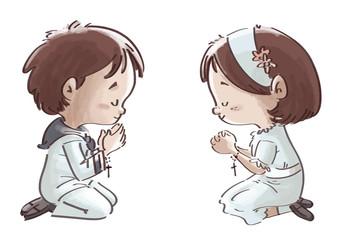 niños rezando en comunion