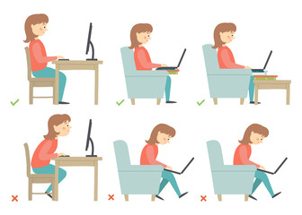Correct and Incorrect Activities Posture in Daily Routine - Sitting and Working with a Computer. Woman character.