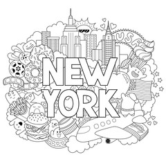 Vector doodle illustration showing Architecture and Culture of New York. Abstract background with hand drawn text New York. Template for advertising, postcards, banner, web design. Hand lettering