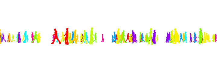 Silhouettes Colorful people are going on white background. Vector