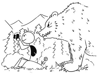 Vector Stickman Cartoon of Tourist with Camera in Mountains with Huge Bear Behind Him