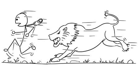 Vector Stickman Cartoon of Tourist Running Away from Lion