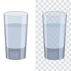 Transparent glass with flat solid color design. Transparent color vector.
