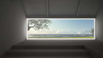 Big panoramic window with grass garden, olives trees and rough seas, empty room interior design