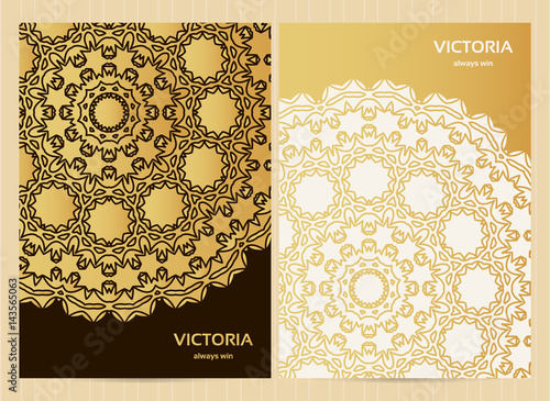 Quran Book Cover Template : Quot a format cards decorated with mandala in golden colors