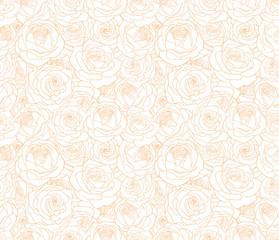 Vector line art cream rose floral seamless bright pattern