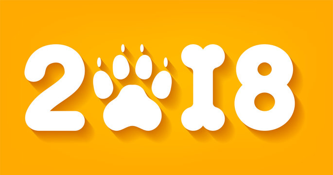 Vector yellow numbers 2018 with zero as dog paw print and one in bone shape next new year