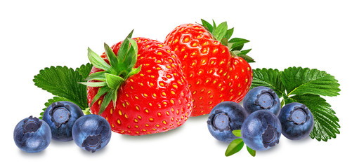 Fototapete - Fresh strawberry and blueberry isolated on white