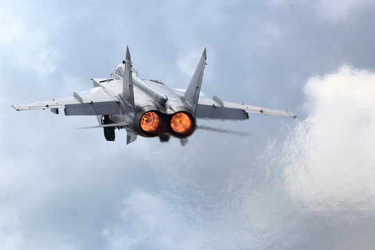 MiG-31BM RF-92379 jet fighter takes off at air force base