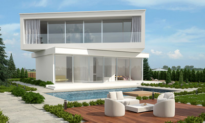 Modern designer home with offset floors