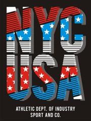 Typography NYC USA Flag, Vector.