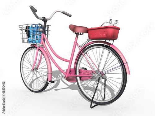 3d damen fahrrad mit korb freigestellt pink stockfotos und lizenzfreie bilder auf. Black Bedroom Furniture Sets. Home Design Ideas