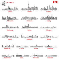 Canadian city skylines in black and white tints color palette with map and flag of Canada