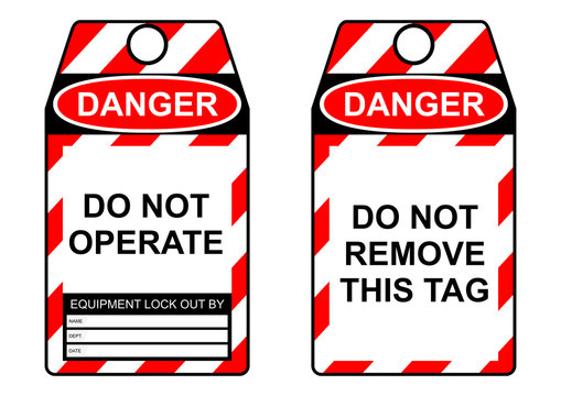 Lockout tagout health and safety tag Flat vector.