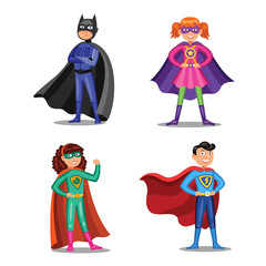 Set of cartoon super heroes. Boys and girls in superhero costumes. Children wearing colorful clothes. Vector illustration.