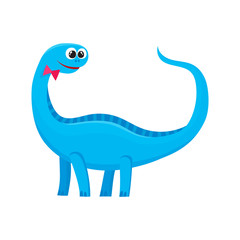 Cute and funny smiling baby brontosaurus, dinosaur, cartoon vector illustration isolated on white background. Funny, happy brontosaurus dinosaur character, decoration element
