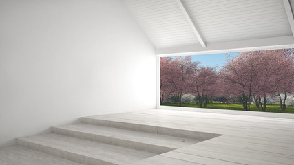 Big panoramic window with spring garden with pink flowers trees, empty room interior design