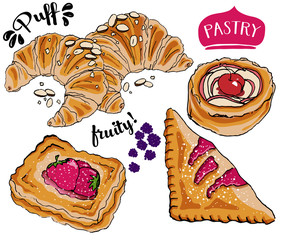 Puff Pastry, including French almond croissants, cherry turnover, fruit shells and Danish jam-filled pastry