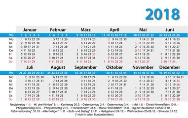 Kalender 2018 Visitenkartenformat Vorlage