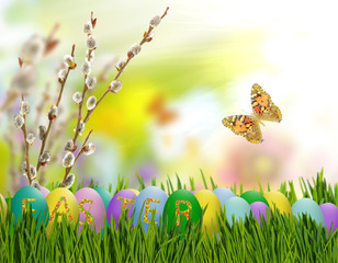 Image of Easter eggs and flowers on a green background,