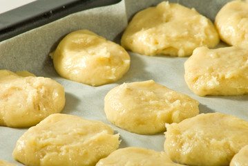 Cookie dough on a baking sheet close-up