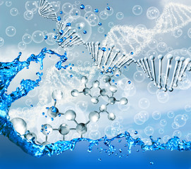 Image of molecular structure and chain of dna on blue background close up,