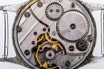 Watch details.Hour gear.Macro, close-up, white isolated background