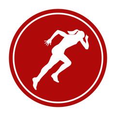 icon sprint running girl athlete white silhouette red circle